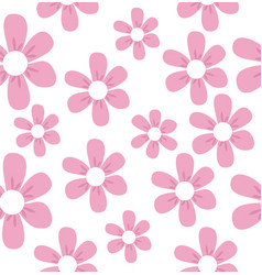 cute beautiful pink flowers pattern vector image