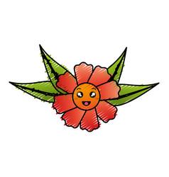 Cute flower decorative kawaii character vector