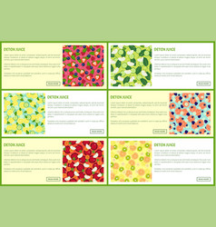 detox juice poster ingredients of refreshing drink vector image