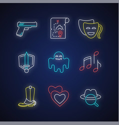 different movie styles and genres neon light vector image