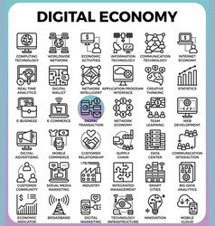 Digital economy concept icons vector