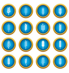 ear corn icons blue circle set vector image