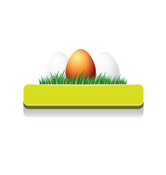 Easter green glossy button with easter egg vector