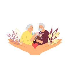 Elderly care concept vector
