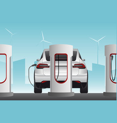 Electric cars with charging stations vector