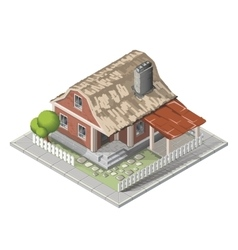 Farm isometric building farmhouse vector