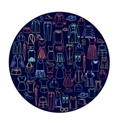 fashionable women clothes and accessories icon set vector image