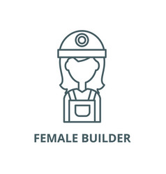 female builder line icon linear concept vector image
