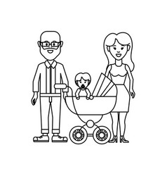 Figure happy couple with their baby icon vector