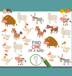 Find one of a kind with farm animals vector