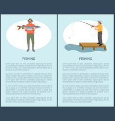 fishing flyer with fisher guy and fish on vacation vector image