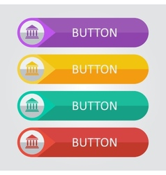 Flat buttons with bulding icon vector