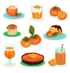 Flat set persimmon drinks and food vector