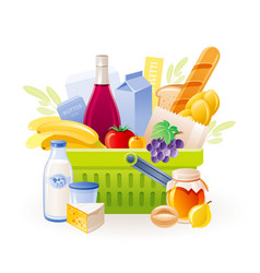 Food basket icon supermarket shop cart vector