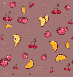 Fruit seamless pattern orange strawberry vector