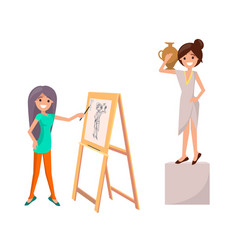 Girl drawing still life picture of woman with vase vector