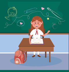girl student in desk with book and backpack vector image