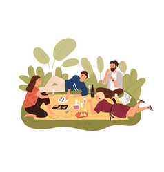 Group happy friends relaxing outdoors on picnic vector