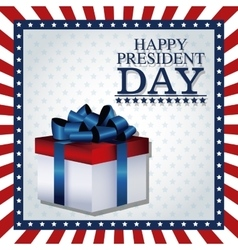 Happy president day gift box ribbon frame flag vector