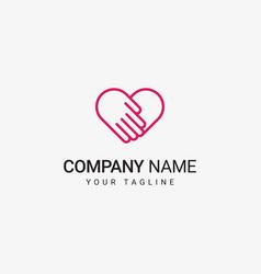 heart hand logo vector image