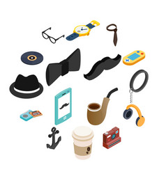 hipster style isometric 3d icons set vector image
