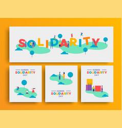 human solidarity day people community at park set vector image
