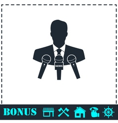 Interview icon flat vector