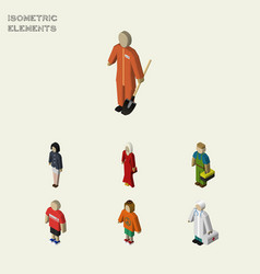 Isometric people set of girl lady cleaner and vector