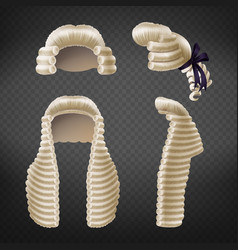 judge periwigs 3d realistic collection vector image