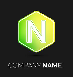 letter n logo symbol on colorful hexagonal vector image