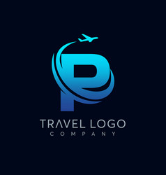 letter p tour and travel logo design vector image