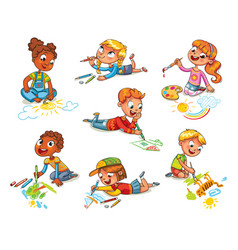 little children draw pictures pencils and paints vector image