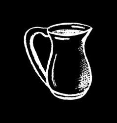 Milk pitcher white chalk on black background milk vector