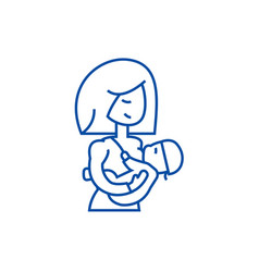 mother breastfeeding baby line icon concept vector image