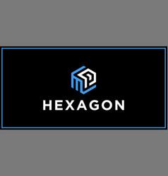 Mp hexagon logo design inspiration vector