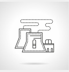 Nuclear power plant flat line icon vector