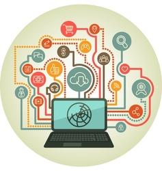 Online interaction a laptop vector