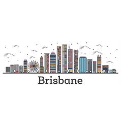 outline brisbane australia city skyline vector image