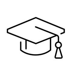 Outline simple graduate hat icon vector