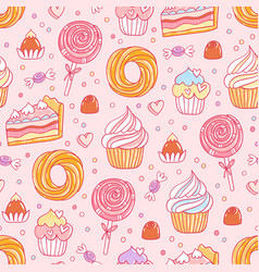 pastry and sweets pattern vector image vector image
