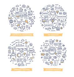 Pay per click doodle vector