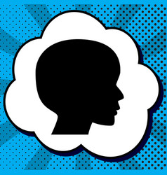 People head sign black icon in bubble on vector