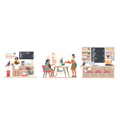 People pet lovers visiting cat cafe flat vector