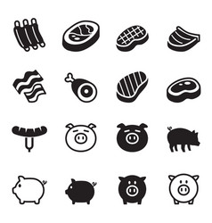 pig pork icons set vector image
