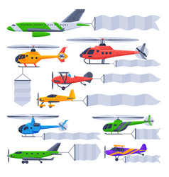 planes and helicopters flying with banners vector image