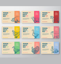 premium quality meat and poultry labels bigger set vector image