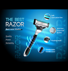 Realistic razor advertising poster vector