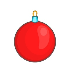 Red Christmas ball icon cartoon style vector image