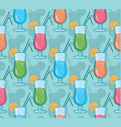 Seamless pattern with hand drawn cocktails vector