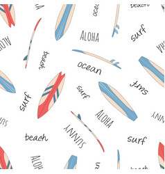 seamless surfboard pattern isolated on white vector image